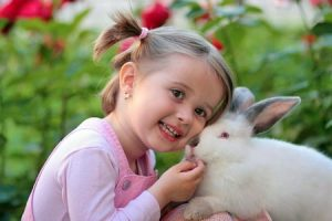 Girl and rabbit friends