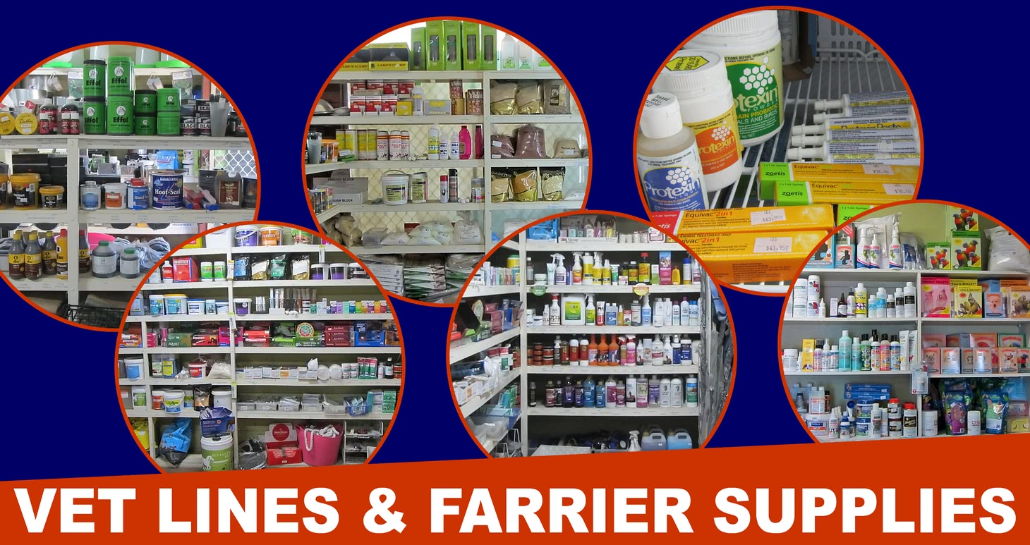 Vet lines and farrier supplies.